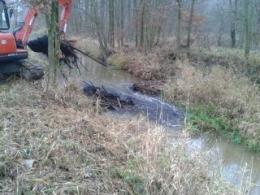 Likwidacja tam bobrowych na kanale (Kubota KX-161)